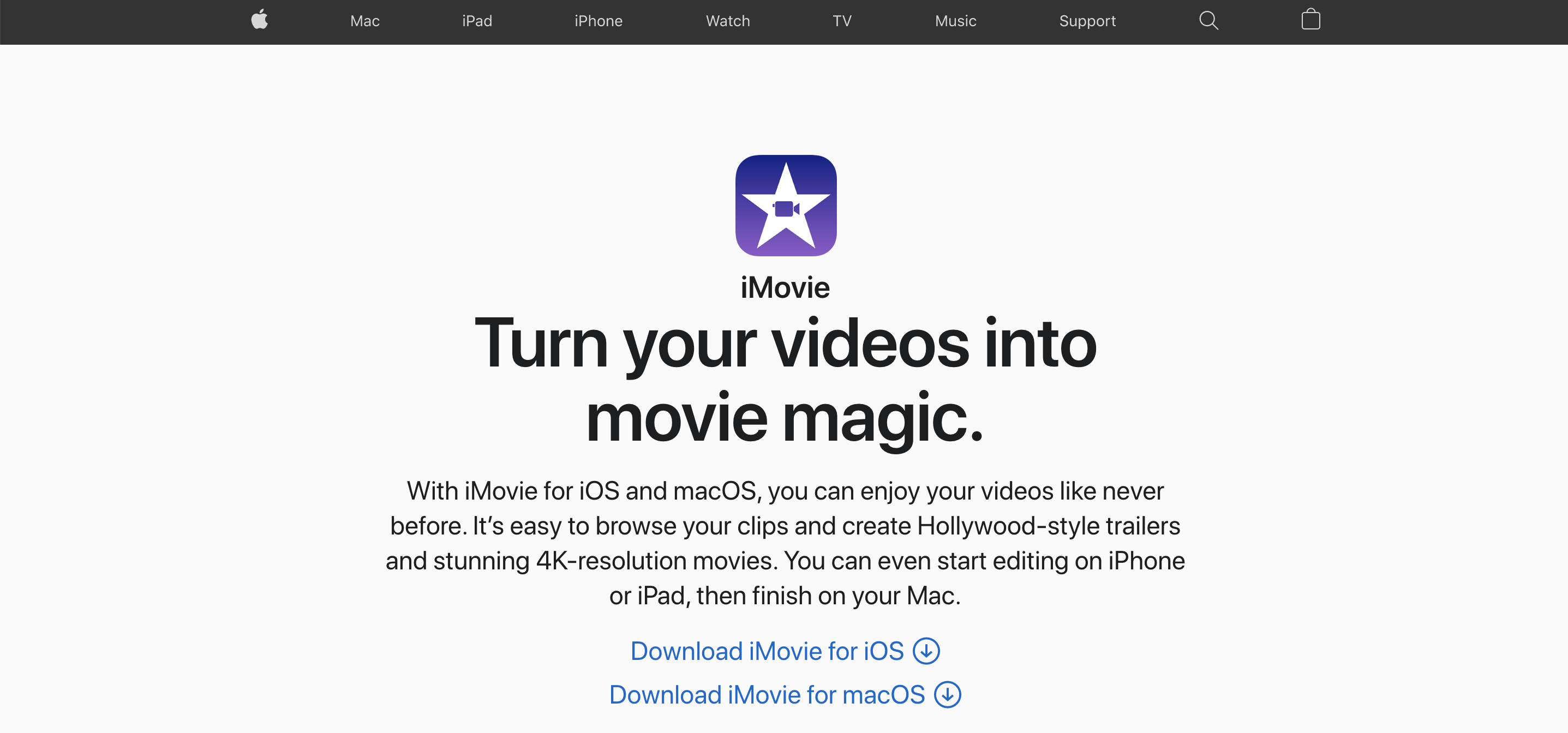 A screenshot of video editing tool iMovie's website.