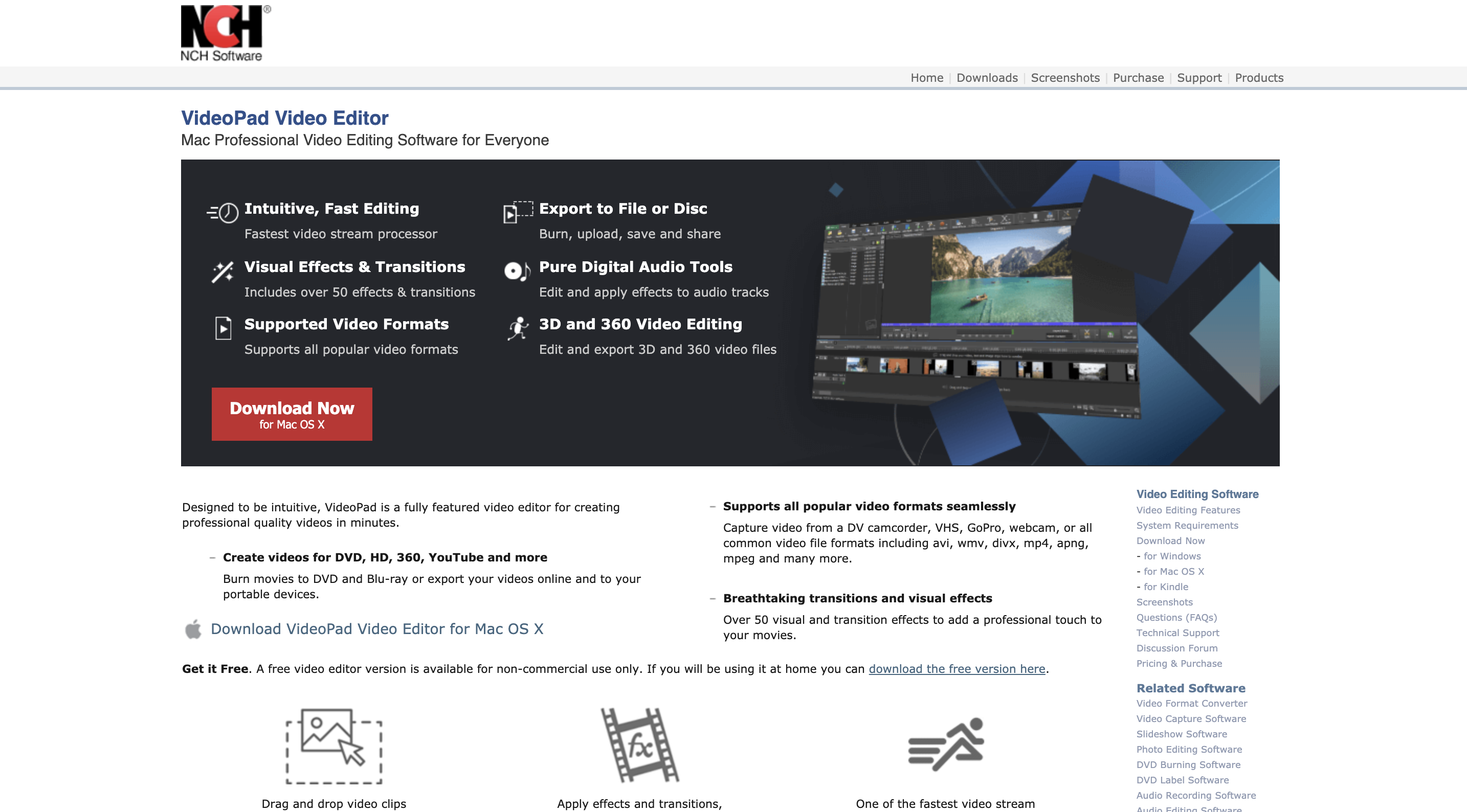 A screenshot of video editing tool VideoPad's website.