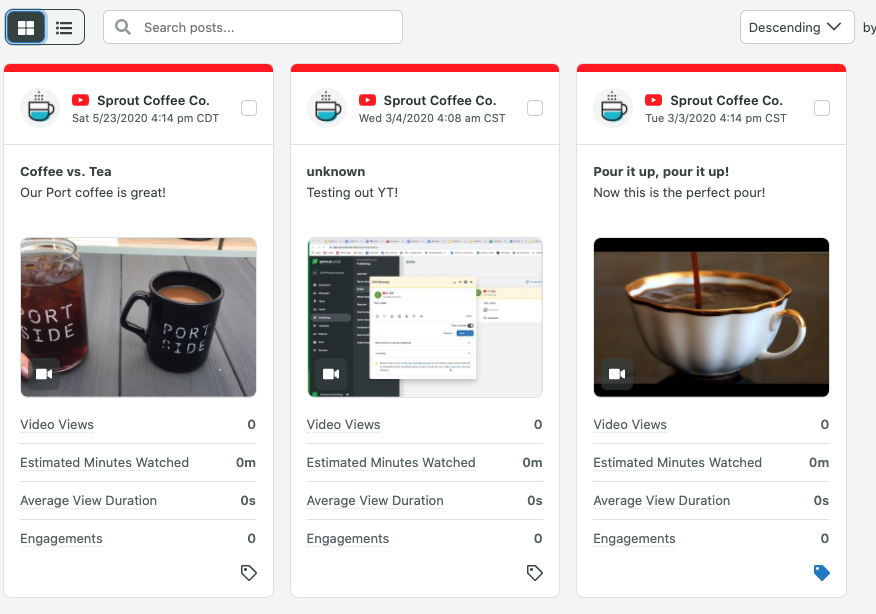 Screenshot of Sprout Social video reporting analytics