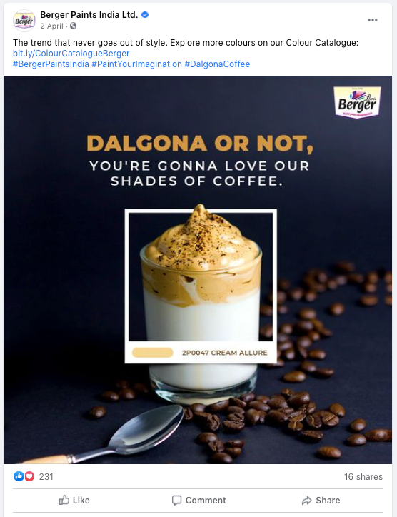 berger paints uses the dalgona coffee trend in social content
