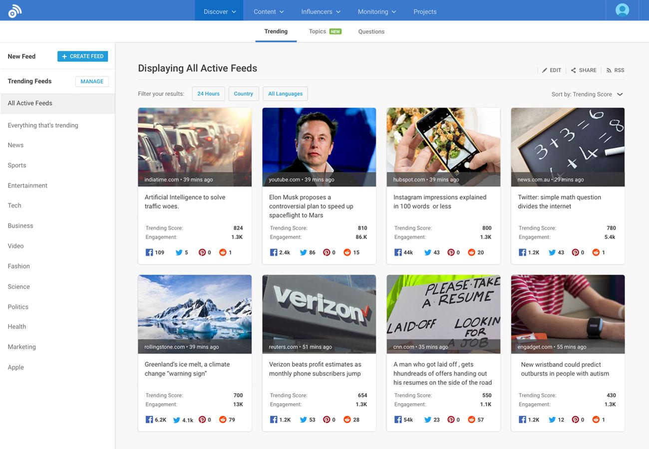 Captura de pantalla del feed activo de la plataforma BuzzSumo