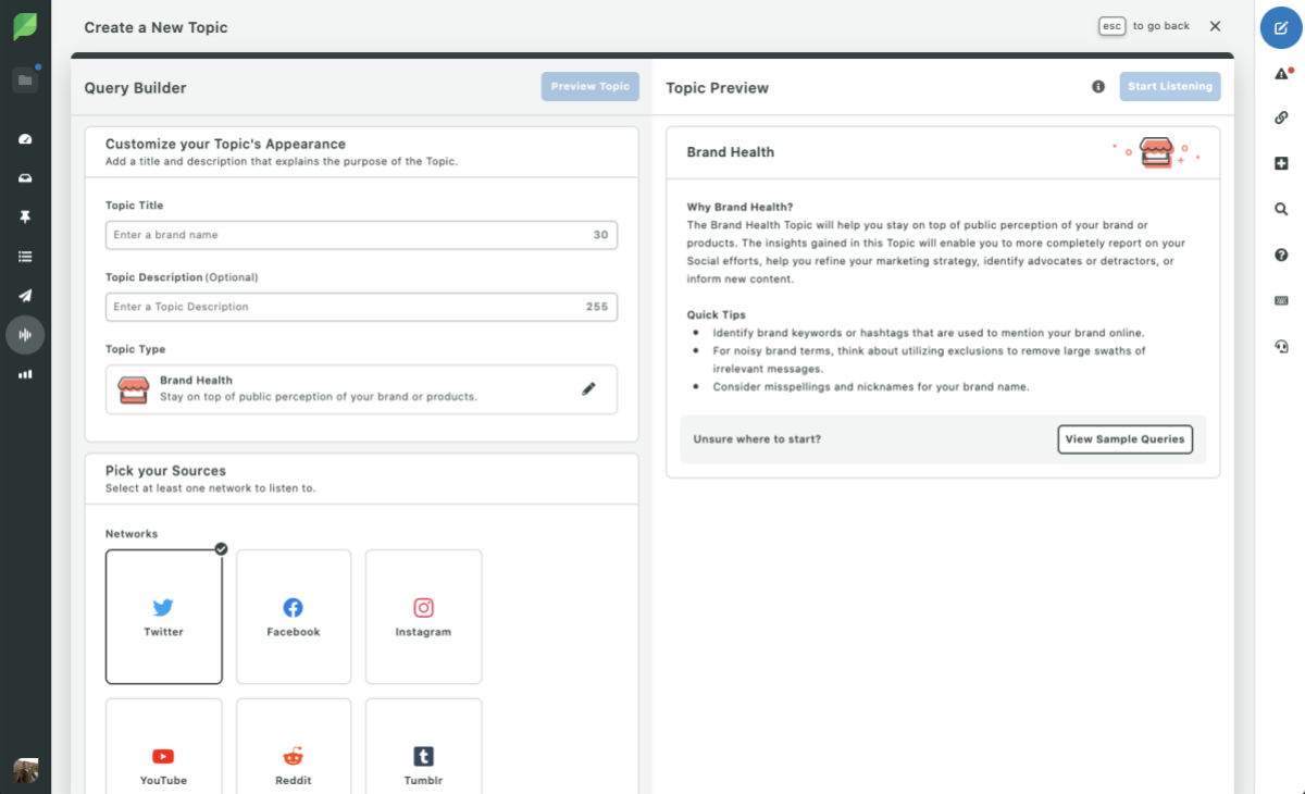 Sprout Social Brand Health Query Builder