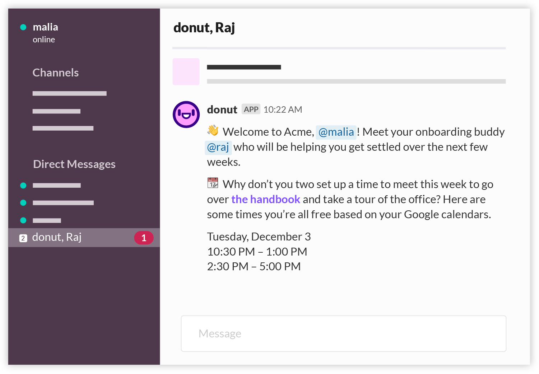 Screenshot of Donut onboarding bot in Slack