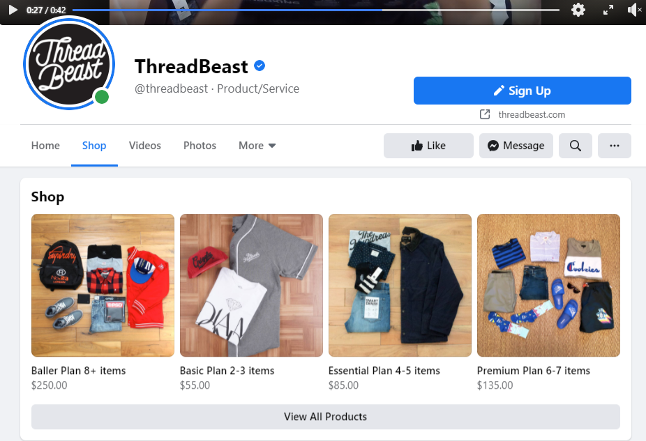 Facebook Shop for ThredBeast showing four different outfits with pricing