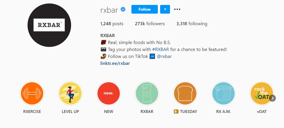 RXBar's instagram highlights a variety of content, including different uses of Stories
