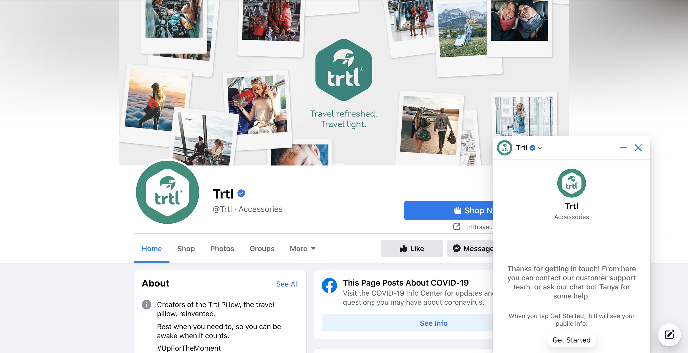Trtl's Facebook Page and its Messenger chatbot