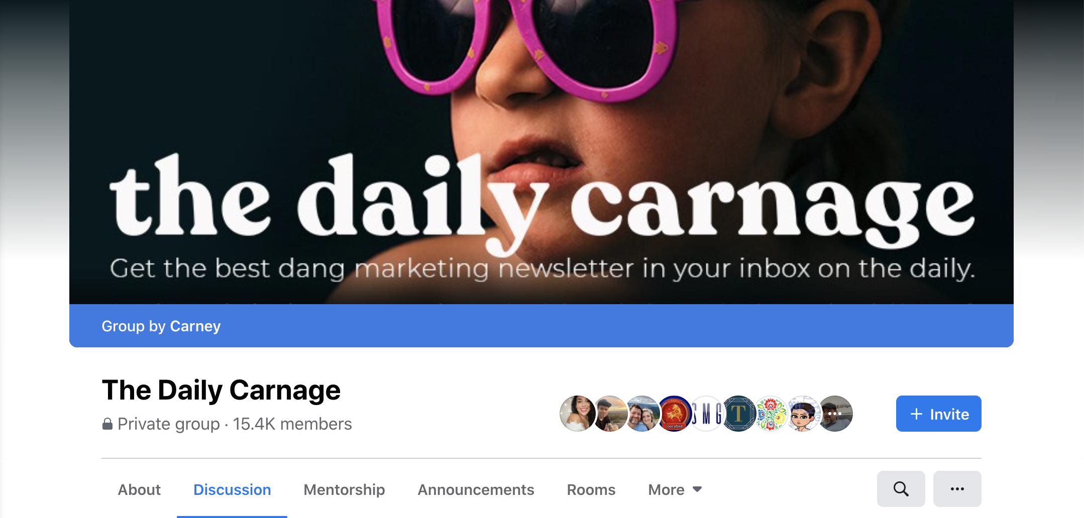 Screenshot of The Daily Carnage's Facebook group header