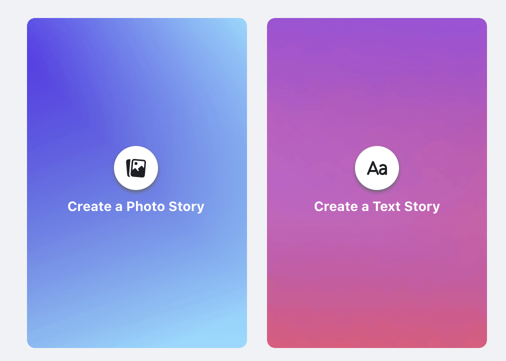 Screenshot of users' choice to create a Facebook Photo Story or Text Story