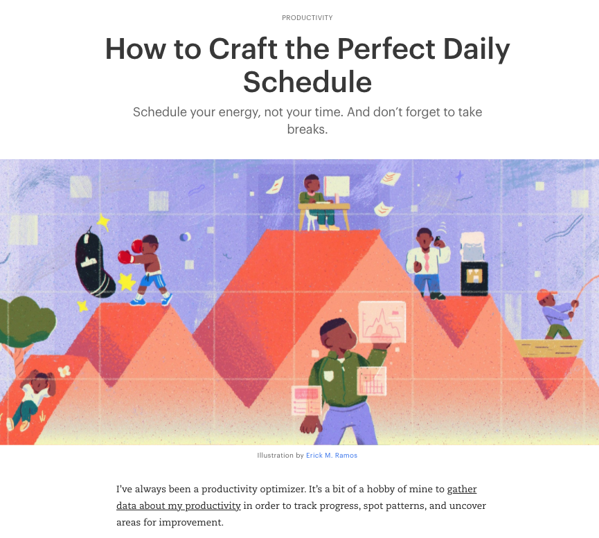 Screenshot of one of Todoist's blog posts' title, image and intro paragraph.