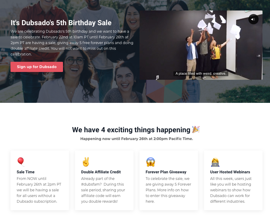 Screenshot of Dubsado's loyalty program for its anniversary