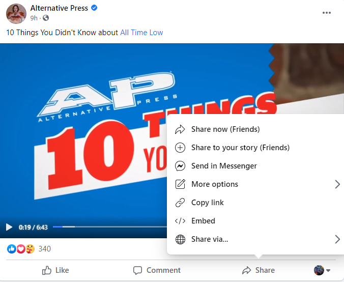 """Screenshot showing how to share a Facebook post to stories with the """"Share"""" button options."""