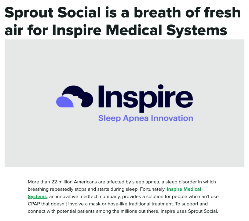 Screenshot of a case study done by Sprout Social