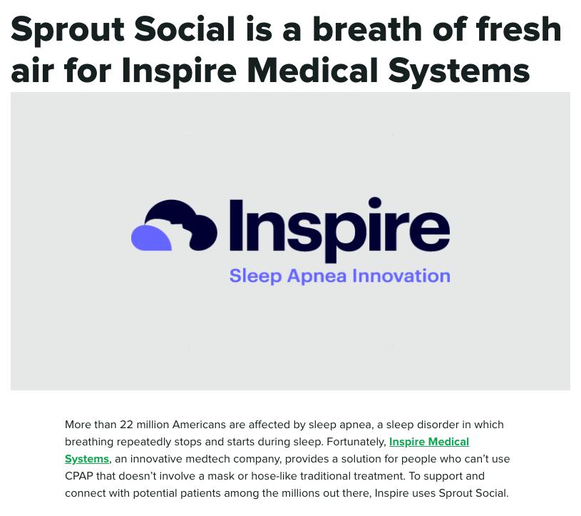 Captura de pantalla de un estudio de caso realizado por Sprout Social