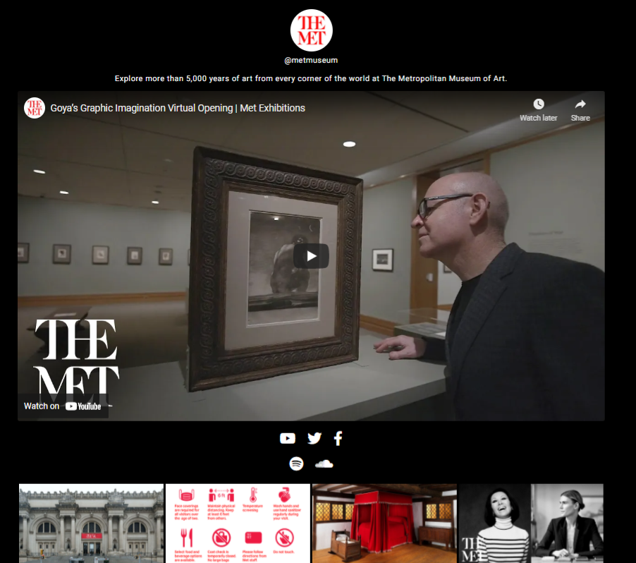 lnk.bio page for the met museum with a video thumbnail highlighted