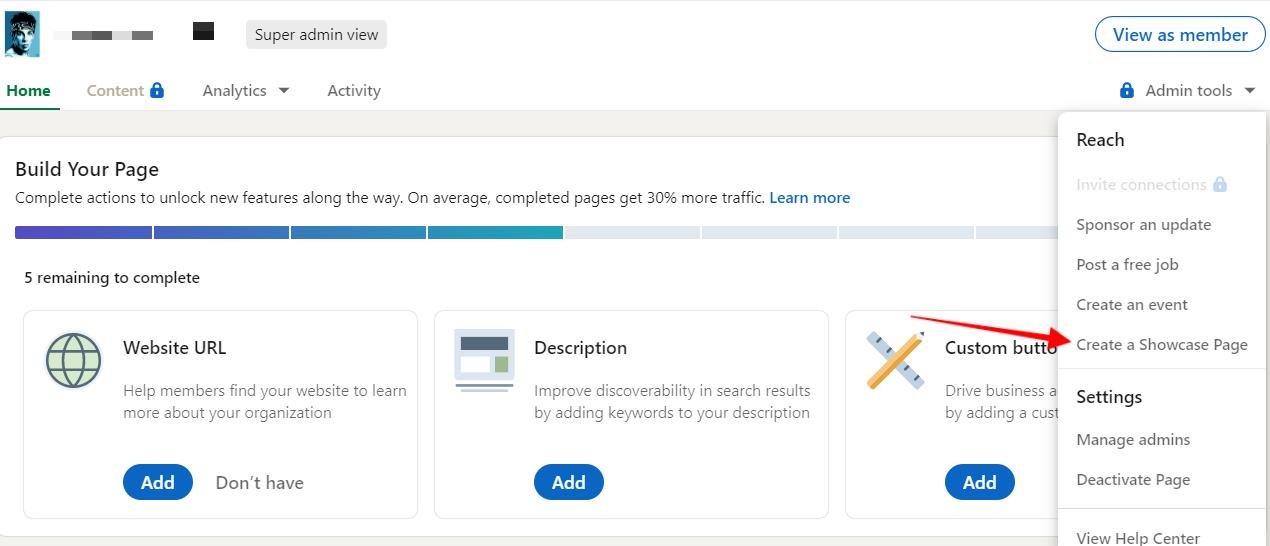 """admin tools dropdown menu for LinkedIn page with arrow pointing to """"create a showcase page"""" button"""