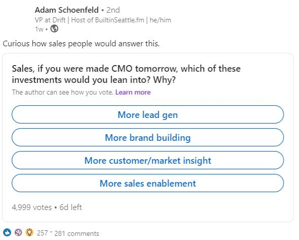 LinkedIn poll asking people to vote what they'd do if they became CMO tomorrow
