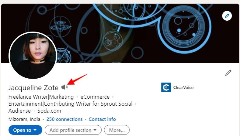 """LinkedIn profile with arrow pointing to the """"audio"""" icon"""