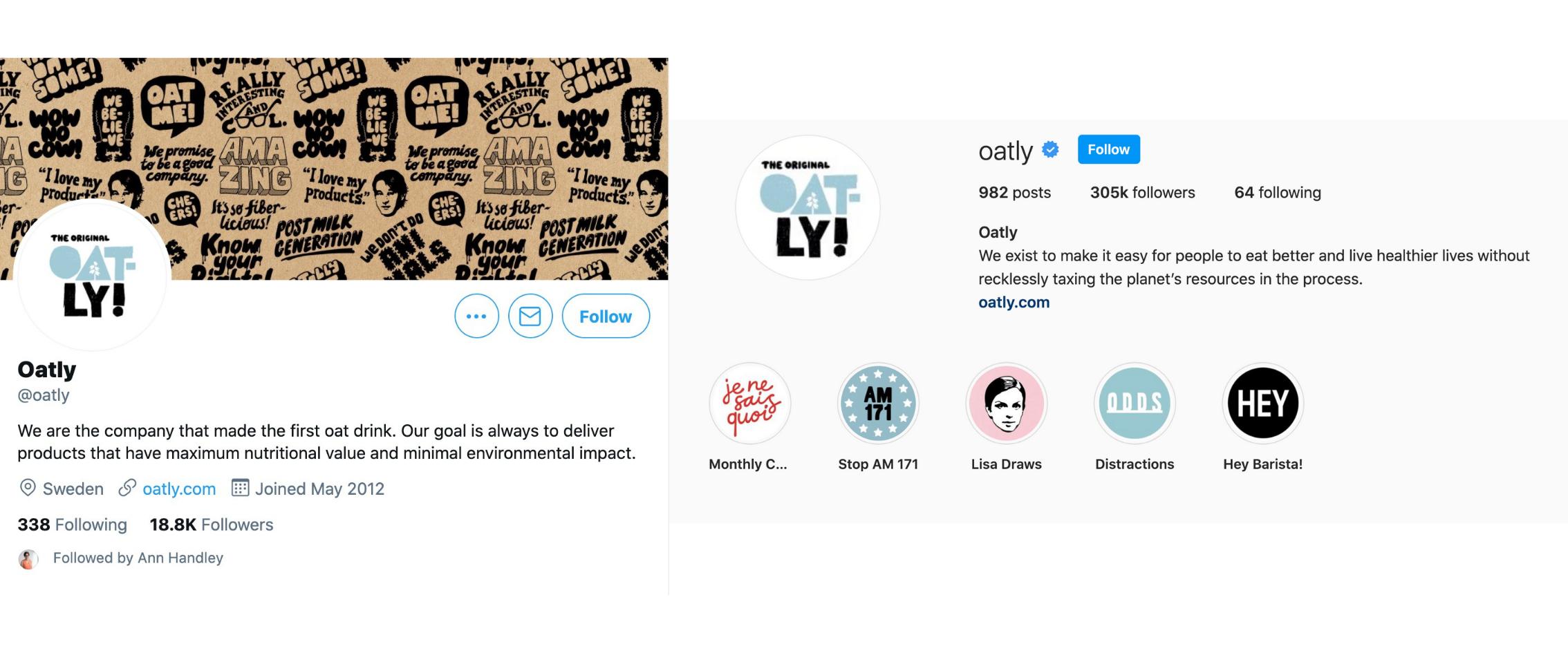 Ein Teil der Strategie von Oatly zur Optimierung sozialer Medien besteht darin, ein zusammenhängendes kreatives Image auf allen sozialen Plattformen zu schaffen.