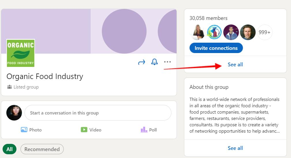 """LinkedIn group page with arrow pointing to the """"See all"""" button"""