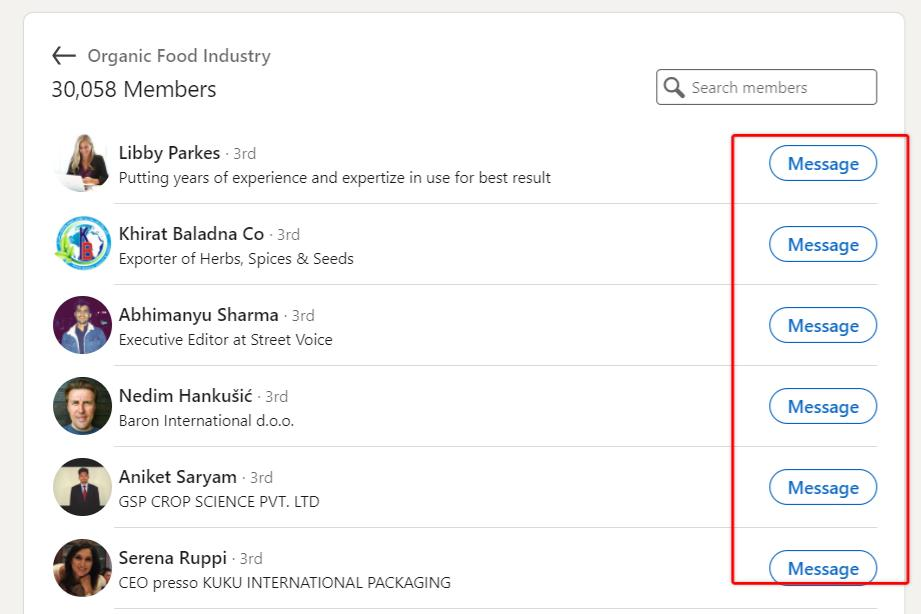 list of members in a LinkedIn group with red box highlighting the 'Message' button