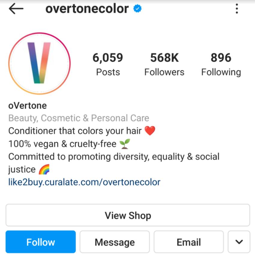 Eine schlüsselwortreiche Instagram-Biografie von Overtone ist ein hervorragendes Beispiel für die Optimierung von sozialen Medien