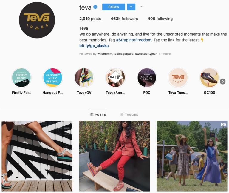 Teva on Instagram - best brands to follow