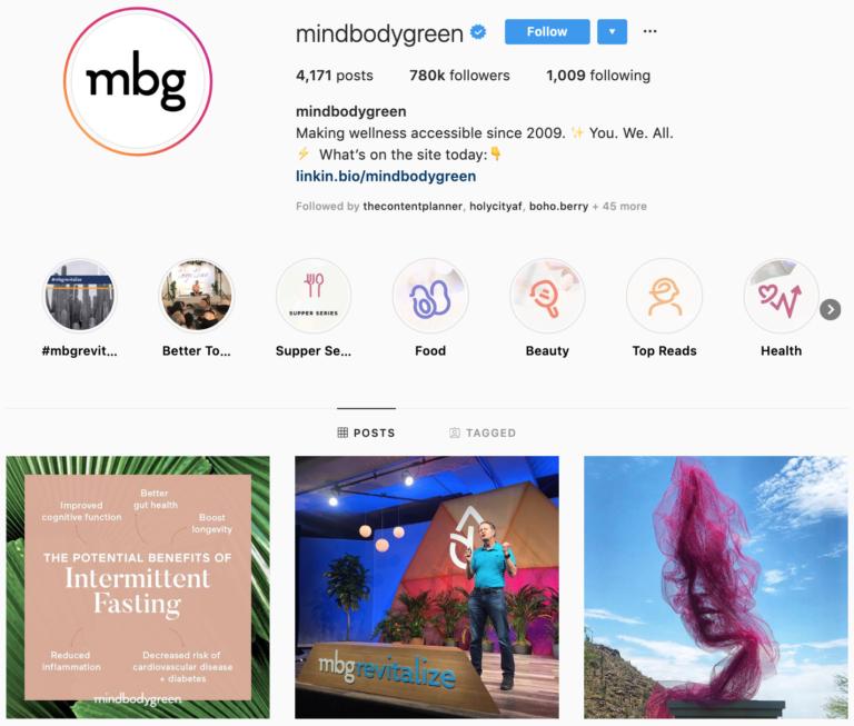 mindbodygreen on Instagram - best brands to follow