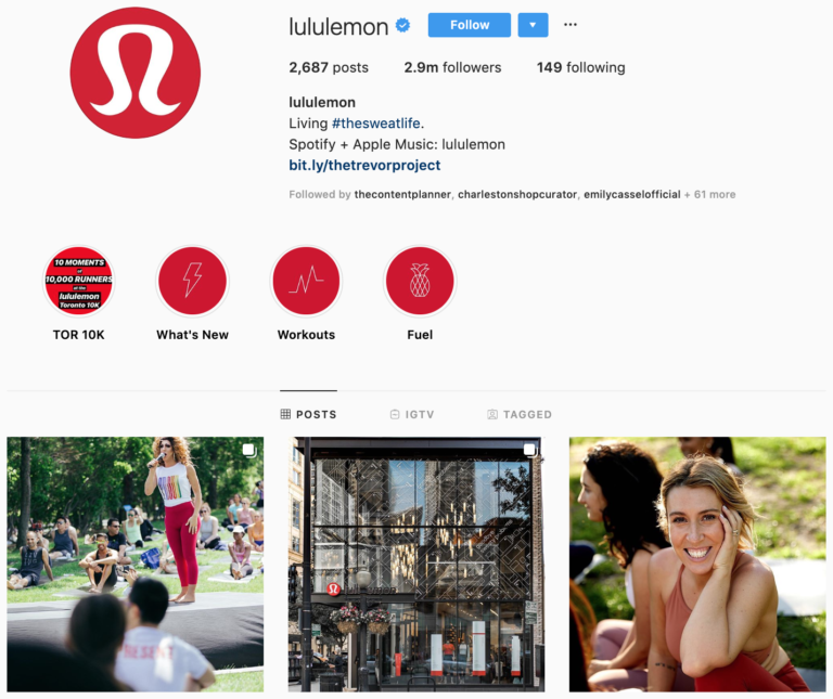 Lululemon on Instagram - best brands to follow