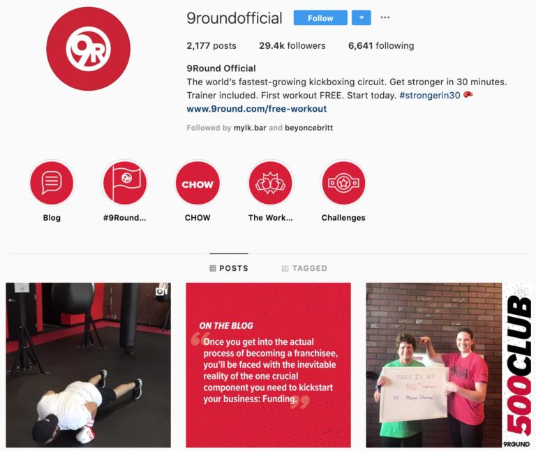 9Round on Instagram - best brands to follow