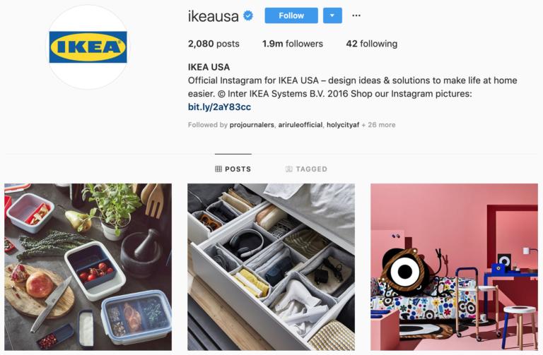 IKEA on Instagram - best brands to follow