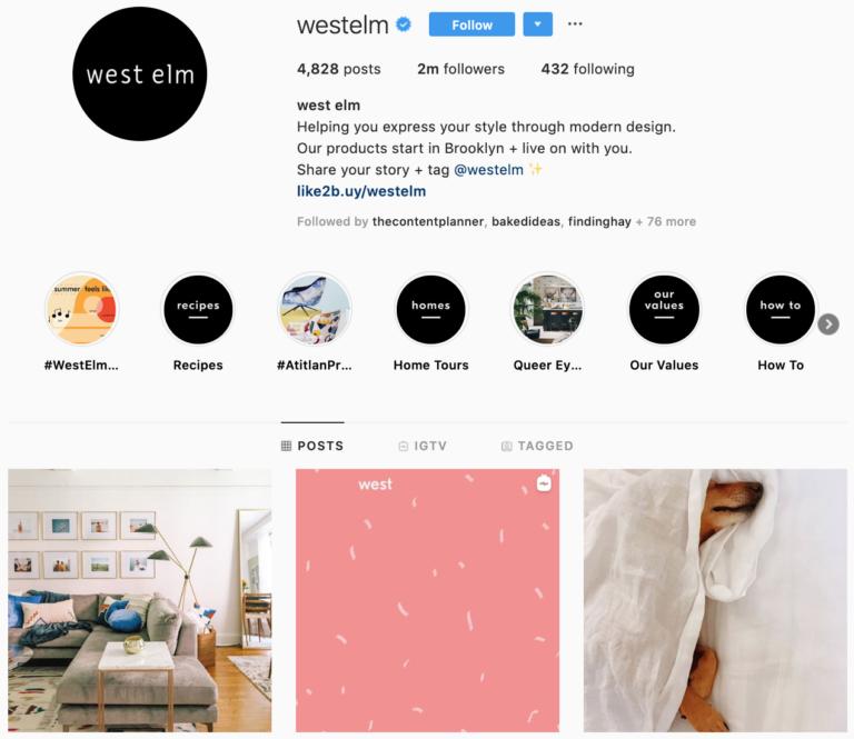 West Elm on Instagram - best brands to follow