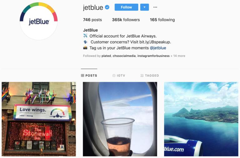 JetBlue on Instagram - best brands to follow
