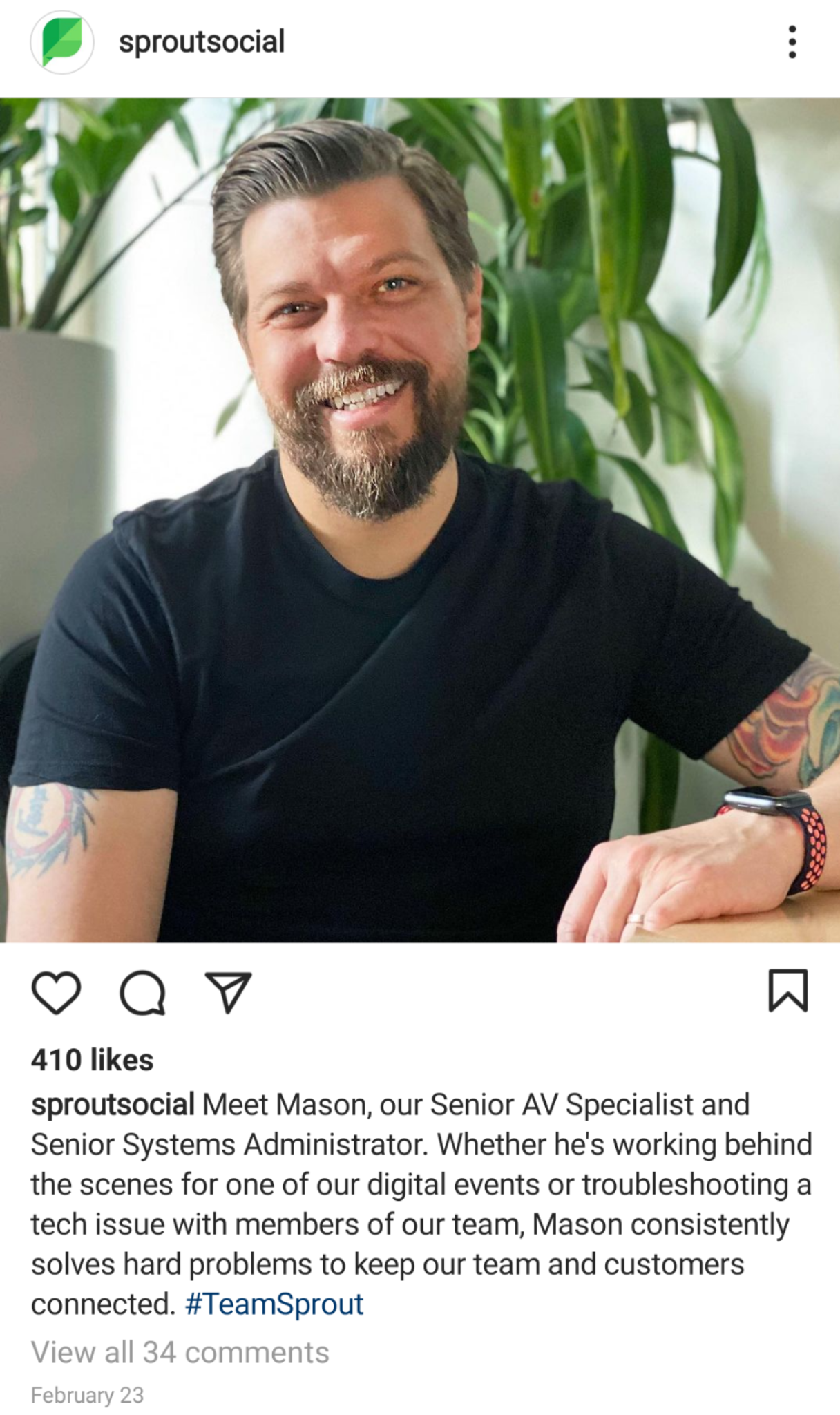 Sprout Social employee shout-out on Instagram