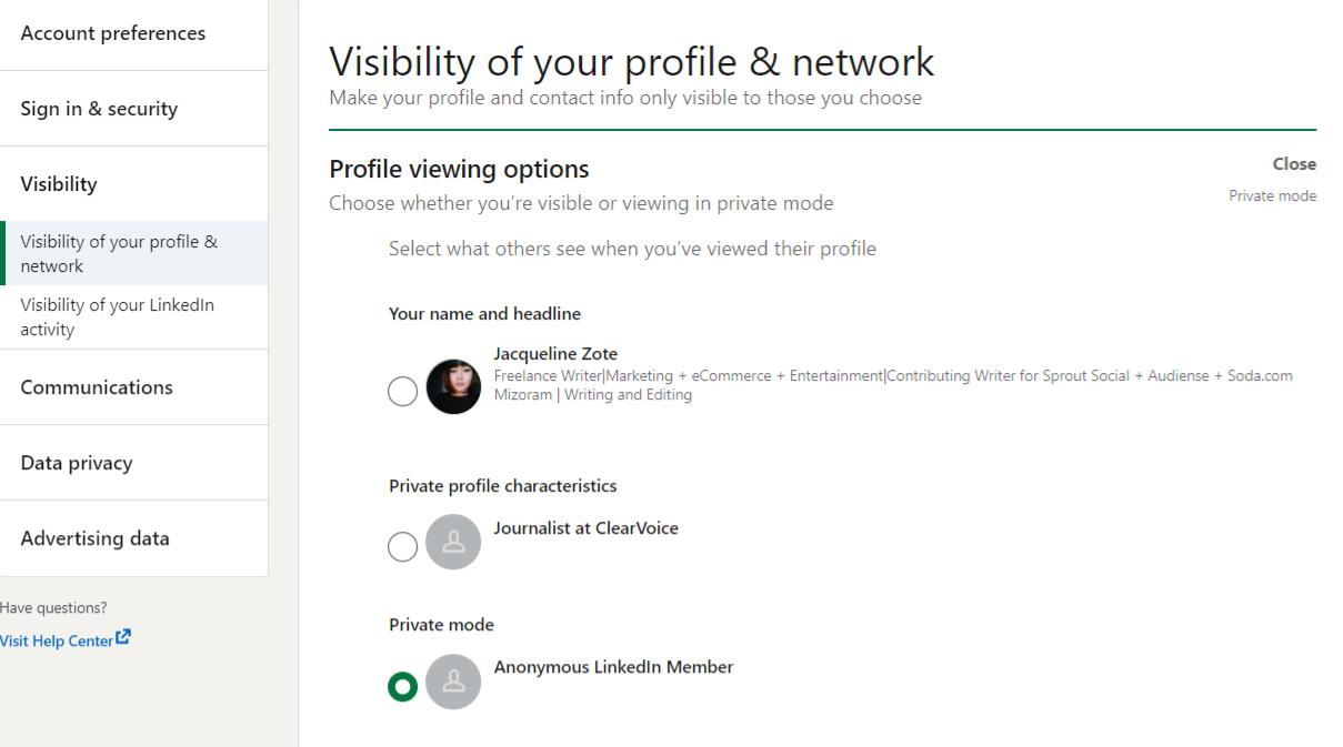 LinkedIn settings with profile viewing options
