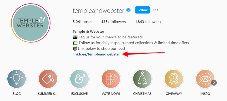 arrow pointing to the link in Temple & Webster's Instagram bio