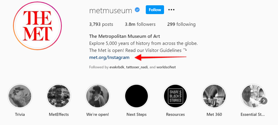 arrow pointing to the custom URL for the Met Museum's Instagram bio