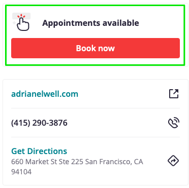 example of book appointment CTA on Yelp