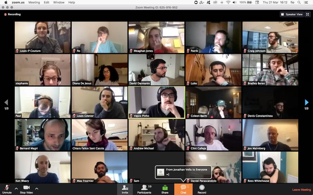 Zoom screenshot of Hotjar's virtual team building activities