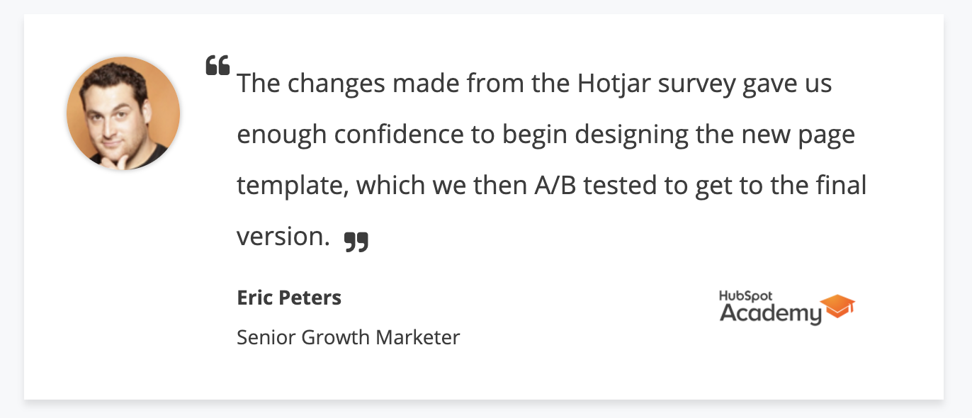 Screenshot of a pull quote from HubSpot's Senior Growth Manager that appears on Hotjar's testimonial page.