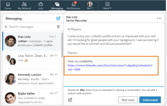 linkedin tool to display available interview or meeting times