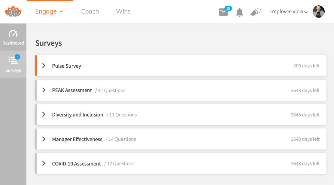View of the TINYpulse survey platform dashboard; it shows several different surveys, the number of questions in each and the days left until expiry.
