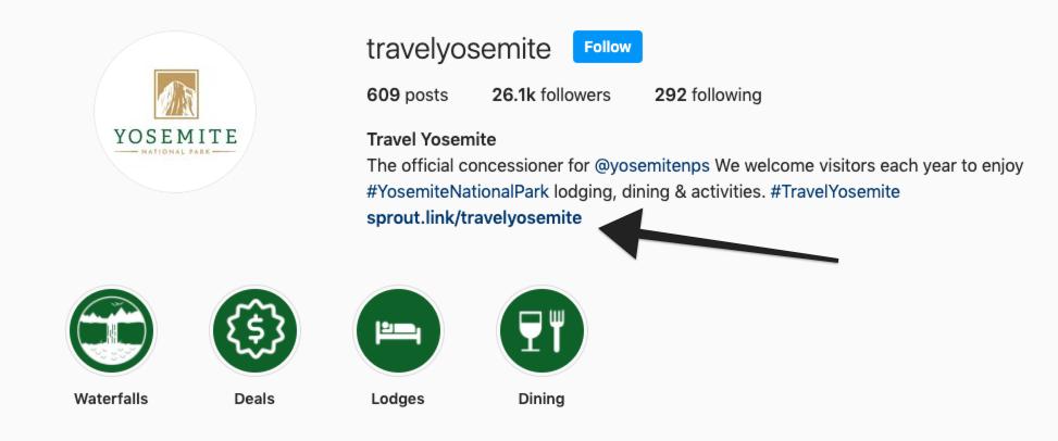 travel yosemite IG bio showing sprout.link