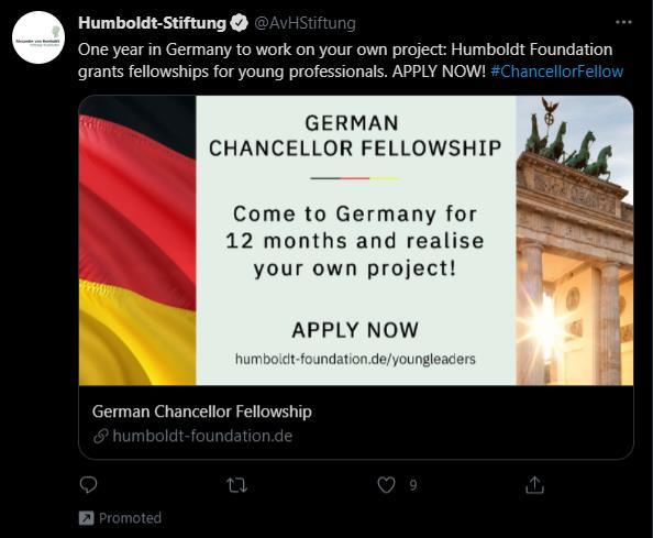 ejemplo de tweet promocionado de hymboldt-stiftung