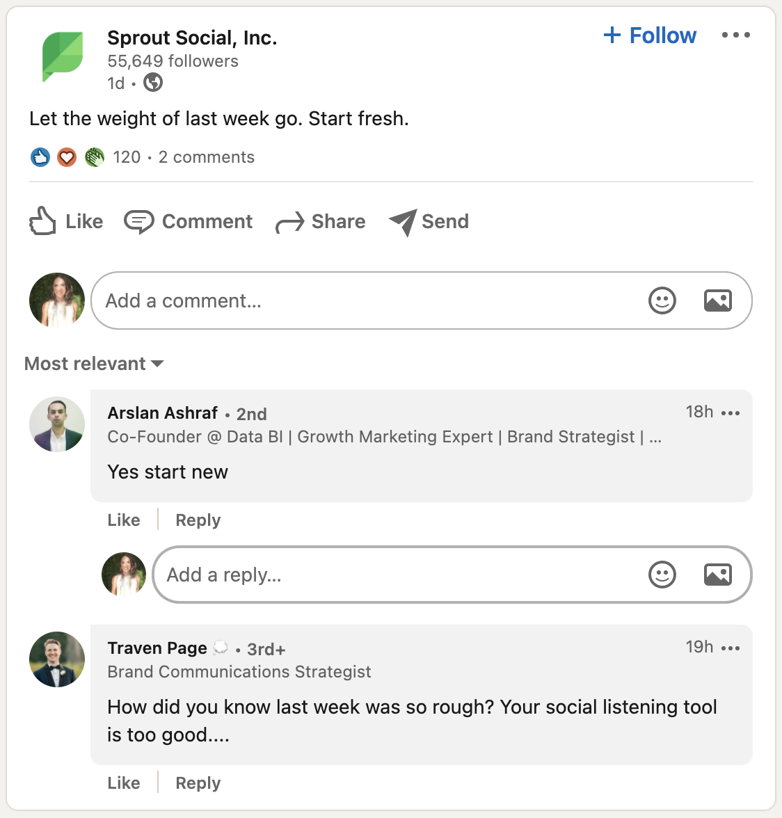 How to respond to LinkedIn comments