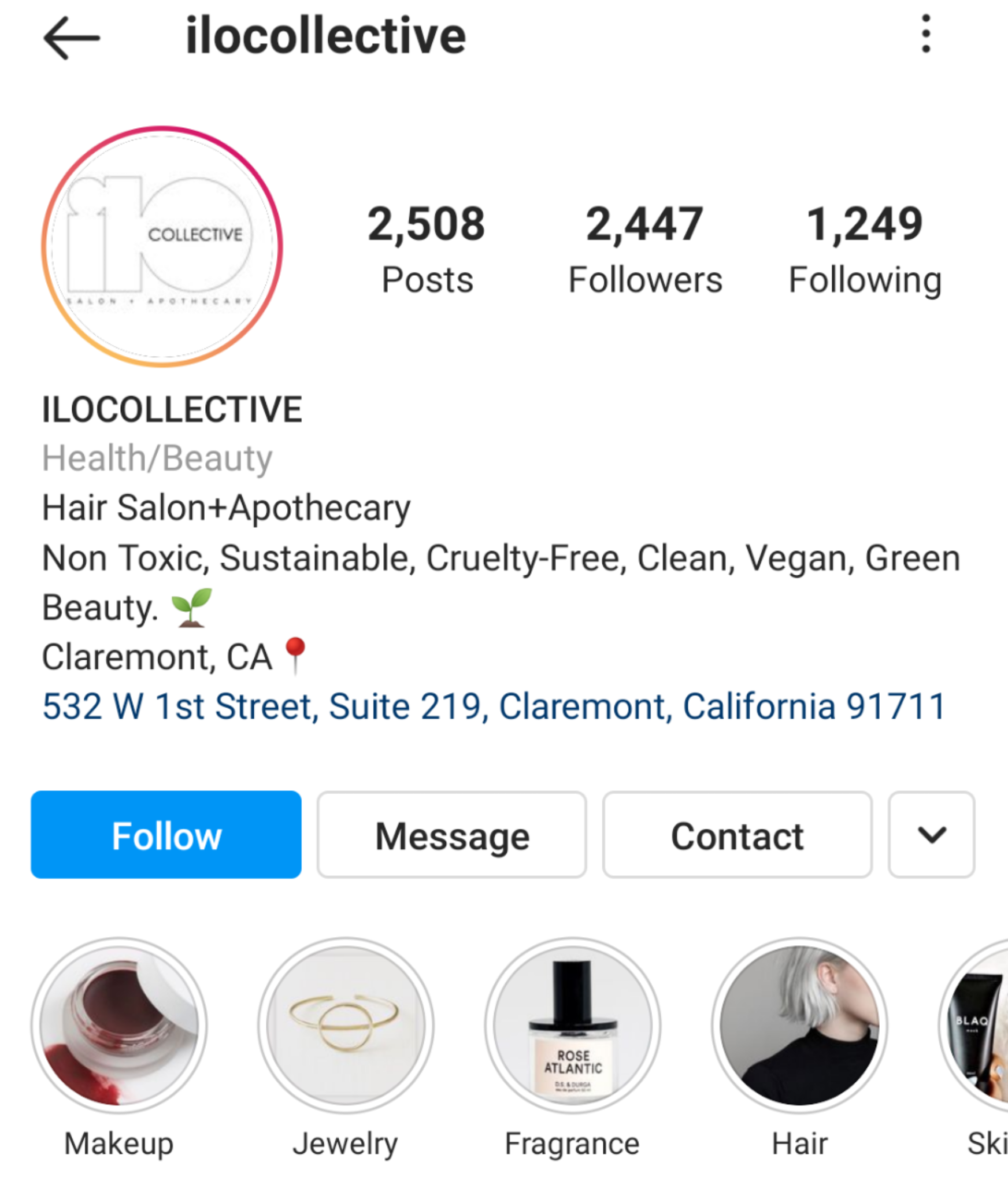 An example of using keywords in an Instagram bio