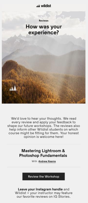 correo electrónico con comentarios sobre la retención de clientes