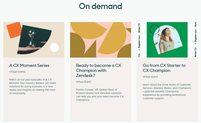 Seminarios web para clientes de zendesk