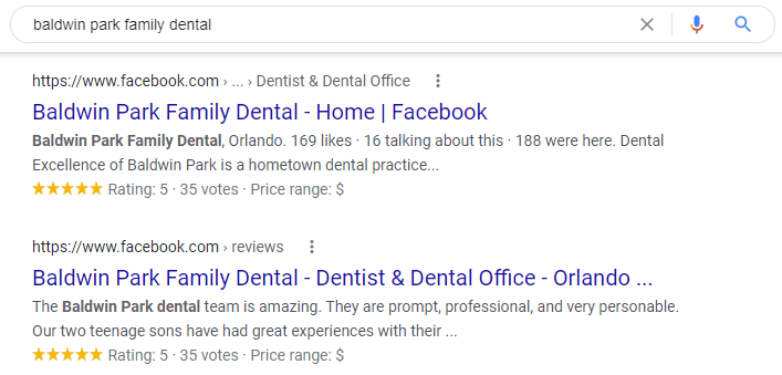 Examples of Facebook Pages appearing in google search results