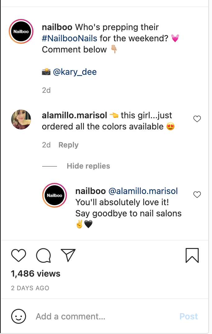 Nailboo responding to an Instagram comment
