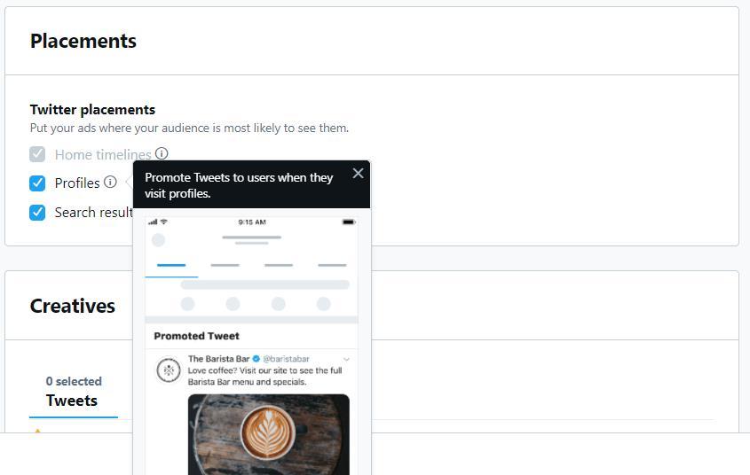 opciones de ubicación de anuncios para anuncios de Twitter